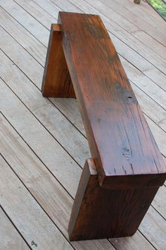 Reclaimed Barn Wormy Fir Wood Bench Foot Stool by thelakenest, $250.00