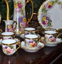 Limoges Fabulous Roses and Lilac Dessert Set: Chocolate/Tea Pot, Creamer, Cups and Saucers and Dessert Plates Vintage Dishes, Vintage Tea, Tea Cafe, Limoges China, Shabby Chic Pink, Tea Service, Chocolate Pots, Tea Set, Cup And Saucer