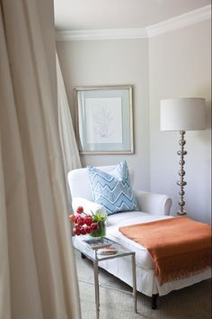 "Wall color is Benjamin Moore Baby Fawn. From Emily Ruddo of Armonia Decor, ""Behind the Scenes: High Gloss Mag photo shoot Part July Chaise Bedroom, Bedroom Seating, Master Bedroom, Bedroom Nook, Bedroom Corner, Bedroom Retreat, Double Bedroom, Master Suite, Bedroom Ideas"