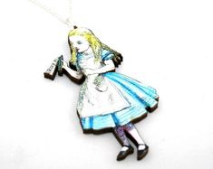 Drink Me Necklace, Alice In Wonderland Necklace, Wood Necklace, Tenniel Illustration, Alice Jewelry, Wood Jewelry