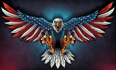 United States Bald Eagle with Flag Wings, Patriotic Art on metal sign, vintage style garage art wall decor by HomeDecorGarageArt on Etsy Patriotische Tattoos, Eagle Tattoos, Navy Tattoos, Tatoos, Wing Tattoos, Celtic Tattoos, Sleeve Tattoos, American Flag Decal, American Flag Eagle
