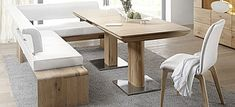 Solid wood table with two columns feet with corner seat leather black collection Ligero by Dining Room Corner, Corner Bench, Dining Room Design, Eckbankgruppe Modern, Solid Wood Table, Dining Bench, Leather, Furniture, Trendy Tree