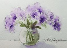 Lilacs Original Watercolor Painting Miniature ACEO - RoseAnnHayes - Etsy