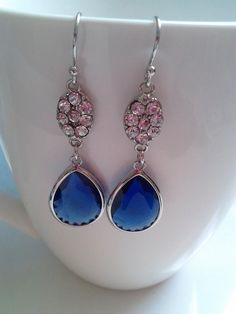 SPECIAL OCCASION Silver Blue GlassBrass dangle by MaryJoeDesigns, $24.50