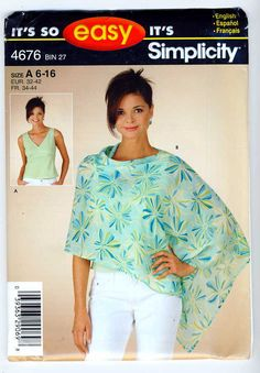 Simplicity 4676 Misses Easy-To-Sew Sleeveless Top and Poncho sewing pattern sizes 6-8-10-12-14-16 by Noahslady4Patterns on Etsy