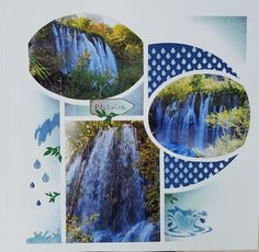 Travel Scrapbook, Decoration, Stencils, Waterfall, Projects To Try, Photos, Artwork, Scrapbook Page Layouts, Template