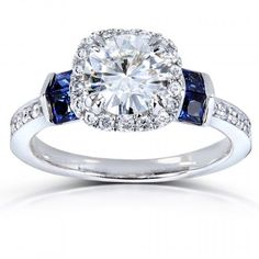 Round-cut Moissanite Diamond & Blue Sapphire Engagement Ring 1 3/5 Carat (ctw) in 14k White Gold_9.0 . Available at www.Brandinia.com