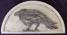 Handmade relief carved ceramic raven hanging by earthsongtiles, $49.95