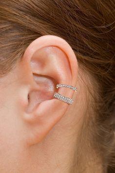 Sterling Silver Ear Cuff CZ Pave With Gold Vermeil, Non Pierced Ear Cuff, Ear Wrap, Double Row CZ Ear Cuff Ear cuffs are in the style spotlight Ear Jewelry, Body Jewelry, Jewellery, Bridal Jewelry, Cuff Earrings, Clip On Earrings, Pierced Earrings, Silver Earrings, Silver Jewelry