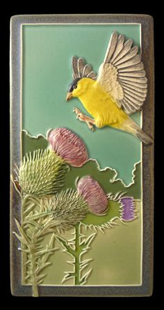 Ceramic tile sculpture wall art animal by MedicineBluffStudio, $68.00  Goldfinch love thistle seeds. If you've ever seen a field, or even a bunch of thistles, you know that they have to maneuver around a bunch of sharp pointy objects, yet they always seem to find their way through the obstacles and get at the seeds. I like that. It's kinda like succeeding in life.