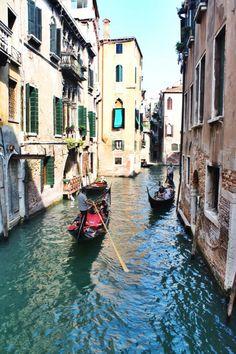 Venice #boats #gondola #stream