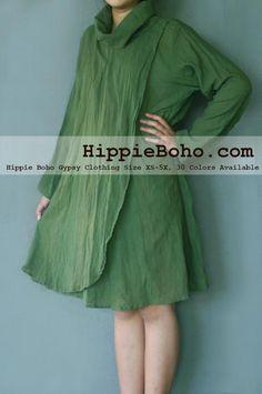 65ac48d3ad3 No.327 - Size XS-5X Hippie Boho Bohemian Gypsy Dark Olive Green Long Sleeve  Tunic Plus Size Dress Lightweight Cotton