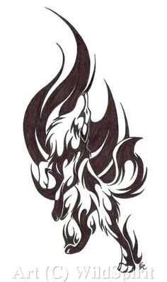 Fire/ tribal wolf tattoo, I would put this across my left shoulder and the flames going up my neck. Tribal Animal Tattoos, Tribal Drawings, Tribal Animals, Kunst Tattoos, Tattoos Skull, Body Art Tattoos, Forearm Tattoos, Wolf Tattoo Design, Tattoo Wolf