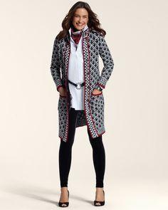 Checkered Mix Sweater Coat - Chico's