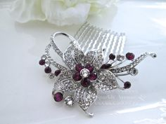 Hey, I found this really awesome Etsy listing at https://www.etsy.com/listing/226842107/bridal-hair-comb-purple-hair-comb-flower