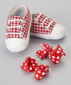From tip to toe, this set helps coordinate a look. Sweet, soft gingham sneakers set a solid base, while bright matching clips top it all off. Includes shoes and two bow clipsCotton / polyesterHand wash; Gingham Wedding, Bow Clip, Baby Steps, Baby Things, Little Ones, Baby Gifts, Red And White, Wonderland, Take That