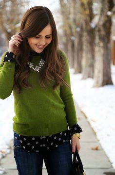 I love the green sweater.  And pairing it with the polka dot top makes a nice combo.