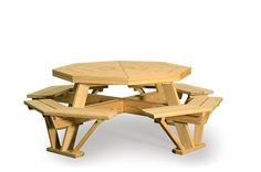 Amish Southern Yellow Pine Wood Octagon Table with Benches Attached Build A Dog House, Build Your Own Shed, Octagon Picnic Table, Picnic Tables, Cool Dog Houses, Backyard Sheds, Outdoor Dining, Outdoor Lounge, Outdoor Decor