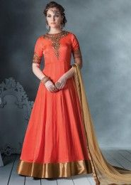 Party Wear Georgette Peach Antique Work Anarkali Suit