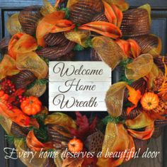 Welcome Home Wreath Ad Deco Mesh Garland, Tulle Wreath, Deco Mesh Wreaths, Fall Wreaths, Burlap Wreath, Christmas Wreaths, Beautiful Front Doors, Summer Deco, Credit Card Statement