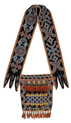 Lenape (aka Delaware, Oklahoma), Bandolier Bag, beads/silk/wool, c. 1870.