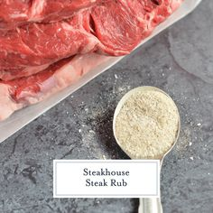 Steakhouse Steak Rub + VIDEO (The best dry rub for steak!) The Best Steak Seasoning Ever! – Steakhouse Steak Rub is a secret recipe that I received from a friend at a steakhouse. A dry rub for steak that is easy to make and store! Best Steak Seasoning, Bbq Seasoning, Smoked Beef Brisket, Smoked Pork, Dinner Idead, Dry Rub For Steak, Prime Rib Steak, Steakhouse Steak, Mixture Recipe