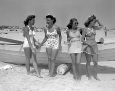 Jones Beach sparkles with gals in the latest swimsuit styles on July 4, 1939.