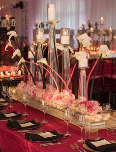 wedding centerpiece, wedding flowers, Pink stemmed calla lillies  #shaadibazaar, #indianwedding