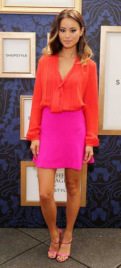Jamie Chung color blocks in a daring hot pink and red combination. // #Celebrity