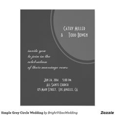 Simple Grey Circle Wedding 4.25x5.5 Paper Invitation Card