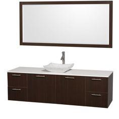 "Wyndham Collection Amare 72"" Wall-Mounted Single Bathroom Vanity Set with Vessel Sink - Espresso WC-R4100-72-ESP-SGL"