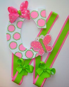 Items similar to NEW ITEM - Custom Hand Painted Hot Pink/Lime Polka Dot Butterfly Girls Toddler Boutique Initial Hair Bow Holder/Organizer W/Headband Loop on Etsy Wooden Wall Letters, Foam Letters, Art For Kids, Crafts For Kids, Toddler Boutique, Girl Baby Shower Decorations, Boutique Hair Bows, Craft Fairs, Diy Gifts