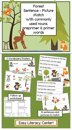 Ideal for a kindergarten or first grade reading center, Forest Sentence Picture Match includes bears, deer, raccoons, squirrels, owls, rabbits and foxes in sight word rich sentences. Directions, answer keys, 2 pages of forest vocabulary, thematic writing paper, and 4 follow up worksheets are included. TpT $