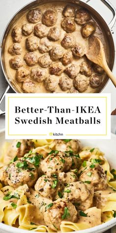 How To Make IKEA Style Copycat Swedish Meatballs. Need recipes and ideas for eas. - Cold Weather Recipes - How To Make IKEA Style Copycat Swedish Meatballs. Need recipes and ideas for eas. Meatballs And Gravy, Ikea Meatballs, Swedish Meatballs Sauce, Sweedish Meatballs, Pasta With Meatballs, Chicken Meatballs, Sweetish Meatballs Recipe, Recipes Using Meatballs, Jelly Meatballs
