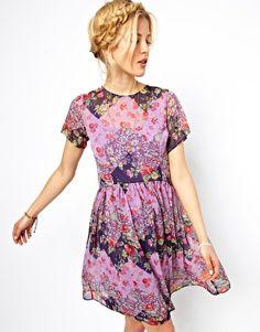 ASOS Smock Dress In Patchwork Print