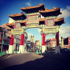 The Chinatown in Liverpool, England is located near the city centre's southern edge close to Liverpool Cathedral, and is home to the oldest Chinese community in Europe.