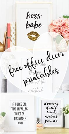 Girly & Feminine office decor printables for all you boss babes! Just print & frame! Girly & Feminine office decor printables for all you boss babes! Just print & frame! Feminine Office Decor, Cute Office Decor, Office Decorations, Therapy Office Decor, Business Office Decor, Christmas Decorations, Work Cubicle Decor, Cubicle Organization, Decorating Ideas For Office Cubicle