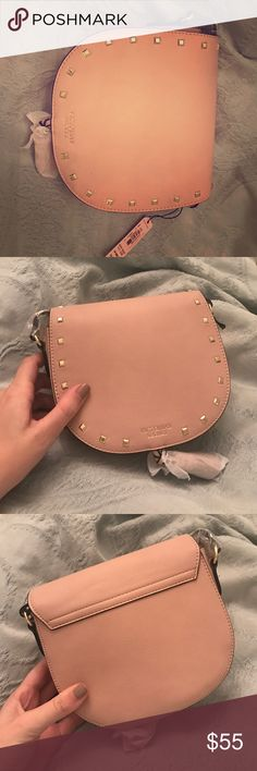 Victoria's Secret Over-the-Shoulder Purse Light pink, leather purse with gold studs and VS logo on front! Victoria's Secret Bags Mini Bags
