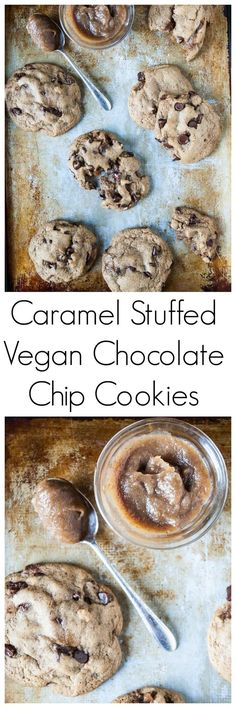 Vegan Caramel Stuffed Chocolate Chip Cookies- Vegan chocolate chip cookies get stuffed with a date caramel center and ready in under an hour!