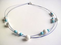 Necklace Turquoise and white agata / light blue and by clode83, €25.00