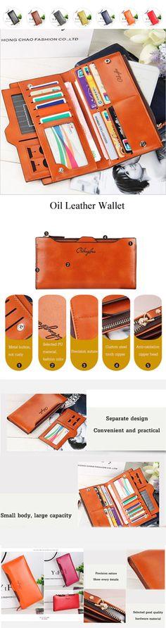 [$ 10.71]   Women Oil Leather Ultrathin Wallet Bright PU Leather Purse Wallet
