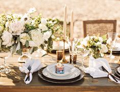 Destination wedding table setting | New England Seaside Wedding Inspiration via @IBTblog, pics by Amilia Photography