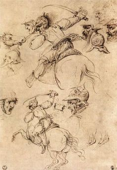 Page: Study of battles on horseback Artist: Leonardo da Vinci Completion Date: c.1504 Place of Creation: Florence, Italy Style: High Renaissance Genre: sketch and study Technique: ink Material: paper Gallery: Galleria degli Uffizi, Florence, Italy