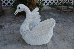 Vintage Wicker Swan Basket Planter Palm Beach Regency by TheLanai