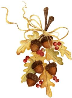 Oak leaves, acorns, raffia and berries. Autumn Painting, Autumn Art, Tole Painting, Fall Clip Art, Oak Leaves, Autumn Leaves, Autumn Crafts, Thanksgiving Cards, Halloween