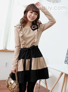 Glamorous Korean Style Split Joint Long Sleeve Sweater Dress