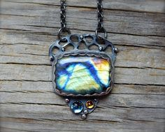 RESERVED (balance) - Multicolor labradorite necklace. Sterling silver spectrolite necklace w rose cut blue topaz & citrine.