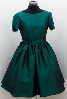 1950s emerald green party bridesmaid prom dress, petal sleeves 50s green date dress, mad men dress, evening gown CUSTOM MADE