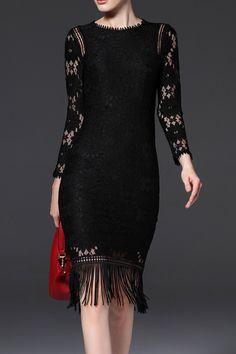 Oserjep Black Long Sleeve Lace Fringe Dress   Knee Length Dresses at DEZZAL