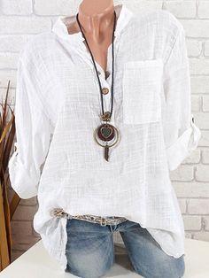 bfc0d2b95b Camisas de algodón de manga larga de color liso Blouse Outfit